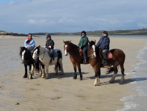Four girls riding in Ireland